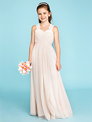 cheap -A-Line Princess Strap Floor Length Chiffon Lace Junior Bridesmaid Dress with Side-Draped Ruched by LAN TING BRIDE®