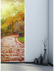 cheap -77*200cm 3D Stone Road Fall Leaves Door Mural Sticker 3D Beautiful Scenery View Decorative Tree Leaves Door Mural Decal Home Decor for Living Room