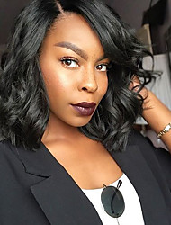 cheap -Women Human Hair Lace Wig Peruvian Human Hair Glueless Full Lace 130% Density Bob Haircut With Baby Hair Loose Wave Wig Black Short