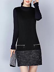 Gaine Robe Femme Décontracté / Quotidien Grandes Tailles simple,Couleur Pleine Col Ras du Cou Au dessus du genou Sans Manches Acrylique