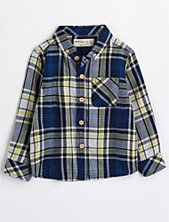 cheap -Boys' Houndstooth Shirt,Cotton Fall Long Sleeve Blue