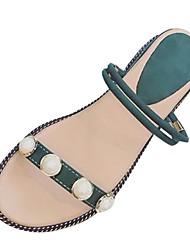 abordables -Mujer Sandalias Confort Verano PU Vestido Perla Tacón Plano Negro Beige Verde Plano