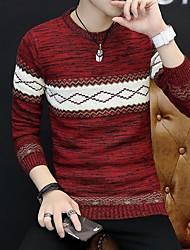 Недорогие -Муж. Геометрический принт На каждый день Пуловер, Повседневные Длинный рукав Круглый вырез Хлопок Акрил Зима Осень