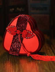 6 Favor Holder-Heart-shaped Metal Favor Boxes Candy Jars and Bottles Gift Boxes