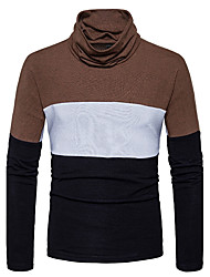 Men's Going out Casual/Daily Simple Regular Pullover,Color Block Cowl Neck Long Sleeves Cotton Fall Winter Medium Stretchy