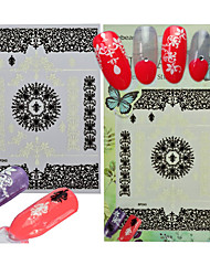 1pcs Fashion Sweet Lace Design Nail Art Flower Sticker Black White 3D Lace Flower Beautiful Decoration Manicure DIY Beauty BP243