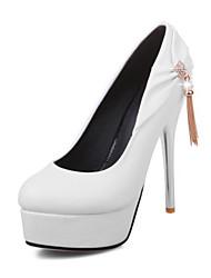Damen Schuhe PU Frühling Herbst Komfort Neuheit High Heels Stöckelabsatz Spitze Zehe Niete Für Hochzeit Party & Festivität Weiß Schwarz
