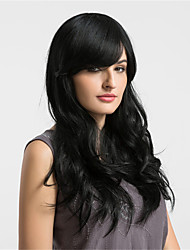 cheap -Natural Wave Capless Human Hair Wigs For Black Women African American Wig Long Natural Black