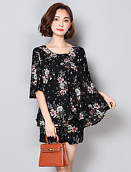 cheap -Women's Daily Casual Summer Blouse Pant Suits,Print Round Neck Half Sleeves Polyester