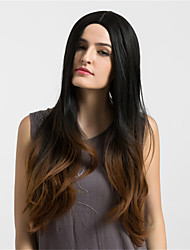 cheap -Women Synthetic Wig Capless Long Very Long Natural Wave Dark Brown/Medium Auburn Ombre Hair Middle Part Natural Wigs Costume Wigss