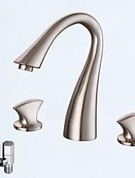 abordables -Moderne Diffusion large Soupape céramique Deux poignées trois trous Nickel brossé, Robinet lavabo