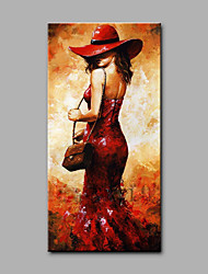Hand-Painted People Vertical,Art Deco/Retro One Panel Canvas Oil Painting For Home Decoration