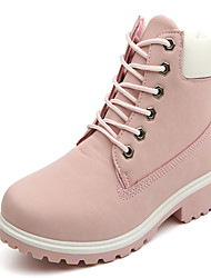 Women's Shoes PU Winter Combat Boots Boots Low Heel Round Toe Booties/Ankle Boots For Casual Outdoor Black Yellow Blushing Pink