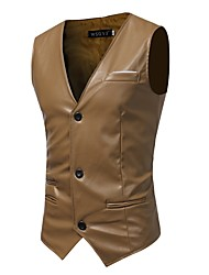 Men's Casual/Daily Work Simple Active Boho Street chic Sophisticated Fall Winter Vest,Solid V Neck Sleeveless Regular PU