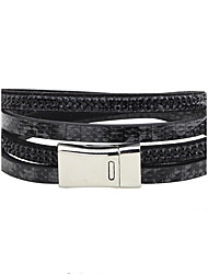 cheap -Men's Women's Cubic Zirconia Zircon Leather Leather Bracelet Tennis Bracelet - Personalized Rock Circle White Black Dark Blue Bracelet For