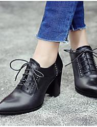 preiswerte -Damen Schuhe Leder Winter Pumps Stiefel Stöckelabsatz Für Normal Kleid Schwarz