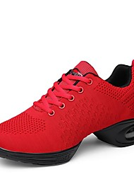 "cheap -Women's Dance Sneakers Knit Sneaker Outdoor Low Heel Red Black White 1"" - 1 3/4"""