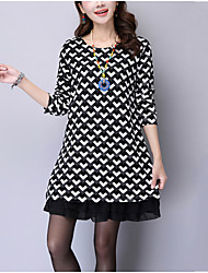 Women's Plus Size Going out Street chic Loose Dress,Check Round Neck Above Knee Long Sleeves Polyester Fall Mid Rise Inelastic Medium