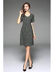 baratos -Mulheres Para Noite / Feriado Chique & Moderno Algodão Solto Vestido Altura dos Joelhos