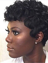 Women Human Hair Capless Wigs Black Short Curly Jheri Curl African American Wig For Black Women Ombre Hair