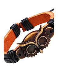 Børn Læder Armbånd Vintage Justérbar Læder Ugle Smykker Til Afslappet I-byen-tøj
