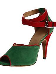 Damen Latin Beflockung Sandalen Aufführung Verschlussschnalle Stöckelabsatz Schwarz Grau Grün 7,5 - 9,5 cm Maßfertigung