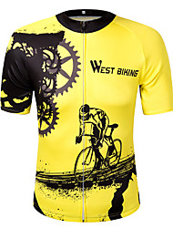 cheap -West biking Cycling Jersey Unisex Short Sleeves Bike Sweatshirt Jersey Top Reflective Strip Fast Dry Quick Dry Breathability Lightweight