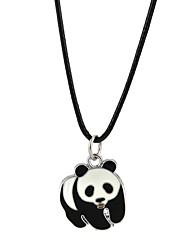 baratos -Homens Mulheres Adorável Panda Colares com Pendentes  -  Clássico Formato Circular Preto Colar Para Noivado Casual
