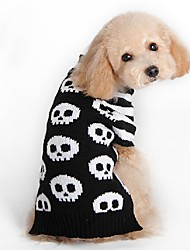 cheap -Cat Dog Coat Sweater Dog Clothes Party Casual/Daily Cosplay Keep Warm Wedding Halloween Christmas New Year's Skulls Black
