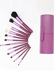 cheap -YZIMENG® 12pcs Purple Makeup Brush Set with Bag Blush/Concealer/Powder/Lip/Eyeshadow/Brow Synthetic Hair Travel Make Up for Face