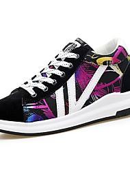 baratos -Mulheres Sapatos Couro Ecológico Primavera Outono Solados com Luzes Tênis Sem Salto Ponta Redonda Cadarço para Casual Arco-íris