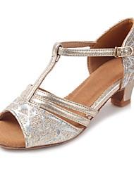 "Kids' Latin Sparkling Glitter Glitter Leatherette Sandal Heel Practice Buckle Sparkling Glitter Chunky Heel Gold 1"" - 1 3/4"" Customizable"