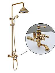 economico -Lusso Glamour Classico Montaggio su parete Doccia a pioggia Docetta inclusa Valvola in ceramica Ti-PVD , Rubinetto doccia