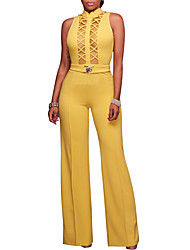Women's Party Club Vintage Sexy Solid Crew Neck Jumpsuits,Wide Leg Sleeveless Spring Fall Polyster