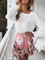 preiswerte -Damen Solide Sexy Einfach Street Schick Ausgehen Lässig/Alltäglich T-shirt,Rundhalsausschnitt Herbst Winter Langarm Polyester Mittel