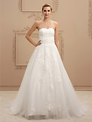 cheap -A-Line Princess Sweetheart Sweep / Brush Train Lace Tulle Wedding Dress with Beading Appliques by LAN TING BRIDE®
