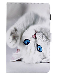 Недорогие -Кейс для Назначение SSamsung Galaxy Вкладка 9,7 Вкладка 8,0 Бумажник для карт Кошелек со стендом Флип С узором Чехол Кот Твердый Кожа PU