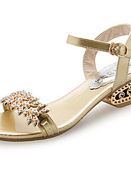 cheap -Women's Shoes PU Summer Comfort Sandals Flat Heel Round Toe Beading For Casual Silver Black Gold