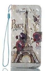 Недорогие -Кейс для Назначение SSamsung Galaxy S8 Plus S8 Кошелек Бумажник для карт со стендом Флип С узором Магнитный Чехол Эйфелева башня Твердый