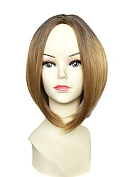 cheap -Synthetic Wig Straight Bob Haircut Middle Part Brown Blonde Women's Capless Halloween Wig Celebrity Wig Party Wig Natural Wigs Cosplay Wig