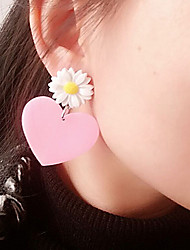 cheap -Women's Kid's Stud Earrings Acrylic Personalized Cute Style China Heart Jewelry Fuchsia Pink Halloween Club Costume Jewelry