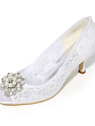 Women's Shoes Tulle Spring Summer Basic Pump Wedding Shoes Stiletto Heel Peep Toe With Rhinestone Imitation Pearl For Wedding Party &