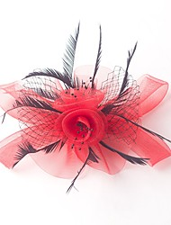 cheap -Tulle Feather Fascinators Flowers Headpiece Classical Feminine Style