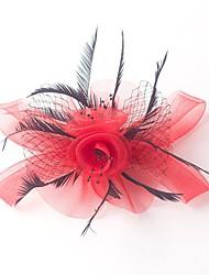 abordables -tocados de plumas de tul tocados de flores estilo femenino clásico