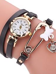 Mulheres Relógio de Moda Bracele Relógio Simulado Diamante Relógio Chinês Quartzo imitação de diamante PU Banda Casual Elegantes Preta