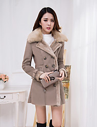 Women's Casual/Daily Simple Sophisticated Fall Winter Fur Coat,Solid Stand Long Sleeve Long Lambskin