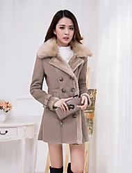 baratos -Feminino Casaco de Pêlo Casual Simples Sofisticado Outono Inverno,Sólido Longo Pele de Carneito Colarinho Chinês Manga Longa