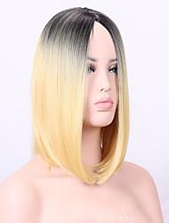 Donna Parrucche sintetiche Senza tappo Medio Lisci Nero / Strawberry Blonde Per donne di colore Parrucca naturale costumi parrucche