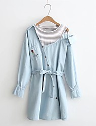Women's Going out Casual/Daily Simple Street chic Denim Dress,Solid Embroidered Shirt Collar Knee-length Above Knee Long Sleeves Linen