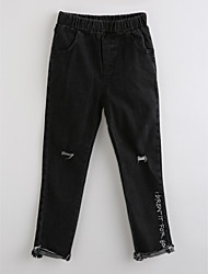 economico -Pantaloni Da ragazza Cotone Con ricami Autunno
